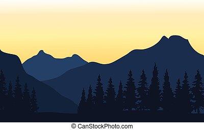 fondo anaranjado, silueta, montaña