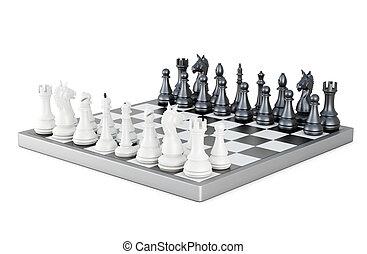 fondo., asse, isolato, interpretazione, figure, scacchi, bianco, 3d