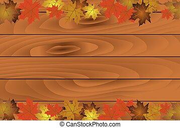 fondo, assi legno, autunno