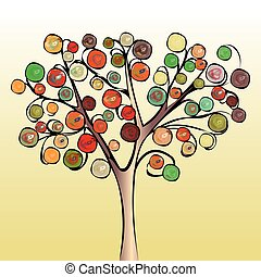 fondo., astratto, albero, colorito