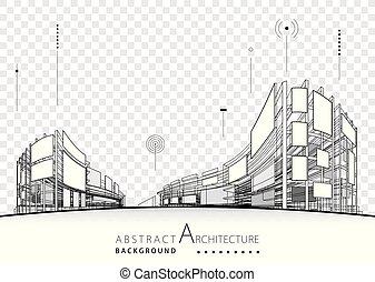 fondo, astratto, architettonico, progetto costruzione