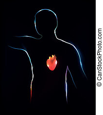 fondo., astratto, heart., illustrazione medica
