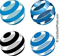 fondo., astratto, isolato, segno, sfera, vettore, strisce, bianco