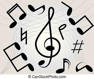 fondo., astratto, musica