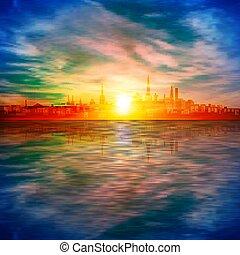 fondo, astratto, oro, primavera, silhouette, cielo, tallinn, tramonto, blu