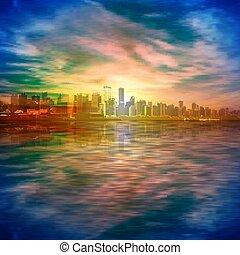 fondo, astratto, oro, vancouver, primavera, silhouette, cielo, tramonto, blu