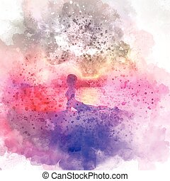fondo, atteggiarsi, yoga, watercolour, femmina