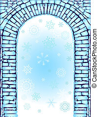 fondo azul, arco, (vector), navidad