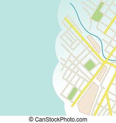 fondo azul, con, parte de, mapa ciudad, -, vector