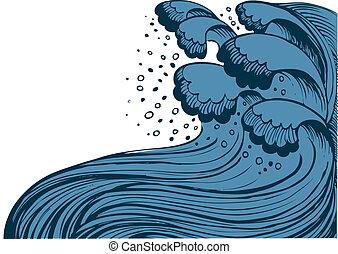fondo azul, grande, sea.vector, tormenta, ondas, blanco