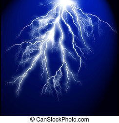 fondo azul, oscuridad, eléctrico, relámpago