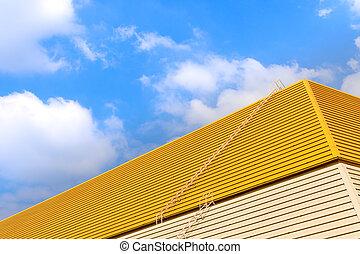 fondo azul, techo, amarillo, sky.