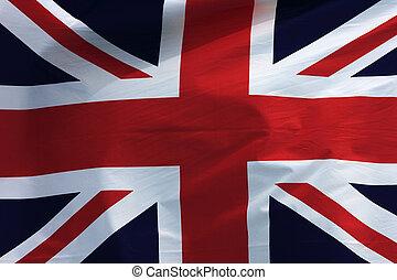 fondo., bandera, británico, onda