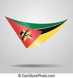 fondo., bandera, vector, mozambique, illustration.
