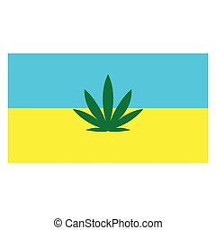 fondo, bandiera, ucraino, foglia canapa