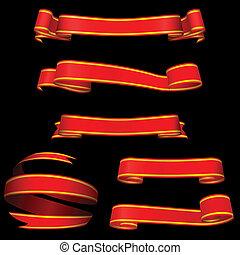 fondo., bandiere, nero, isolato, rosso