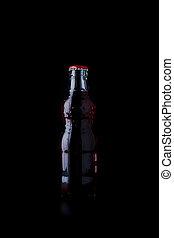 fondo., bevanda, bottiglie, nero rosso