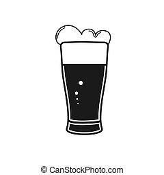 fondo, bevanda, vetro., bianco, vetro, beer., alto, schiumoso, isolato
