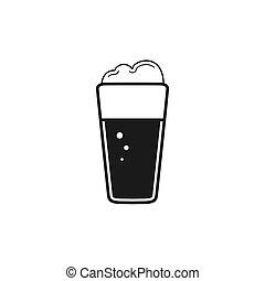 fondo, bevanda, vetro., bianco, vetro, beer., schiuma, isolato