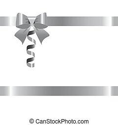 fondo., bianco, argento, nastro, arco