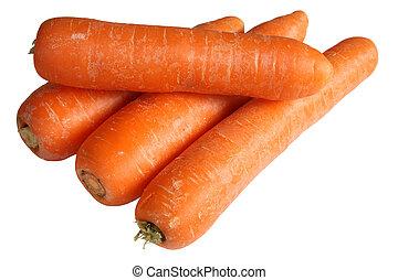 fondo., bianco, carote, mucchio, isolato