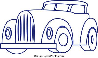 fondo., bianco, cartone animato, vettore, automobile, retro