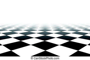 fondo., bianco, checkered, nero, prospettiva