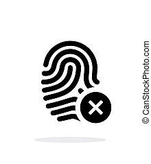 fondo., bianco, icona, rifiutato, impronta digitale