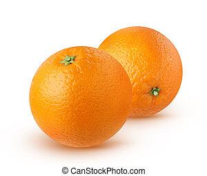 fondo., bianco, isolato, arance
