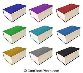 fondo., bianco, libri, isolato, colorito