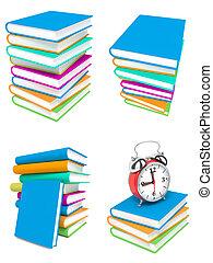 fondo., bianco, libri, pila, colorito