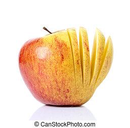 fondo., bianco, mela