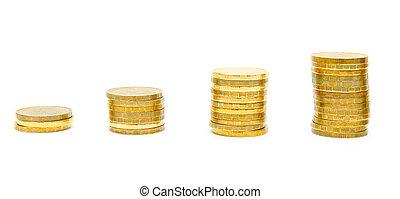 fondo., bianco, monete, oro