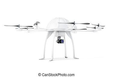 fondo., bianco, multicopter, 3d, interpretazione