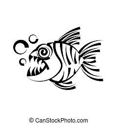 fondo., bianco, piranha, isolato, illustrazione