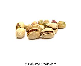fondo, bianco, pistacchi, isolato