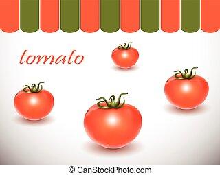 fondo., bianco, pomodori, rosso, fresco
