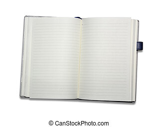 fondo., bianco, quaderno, aperto