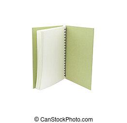 fondo., bianco, quaderno, aperto, isolato