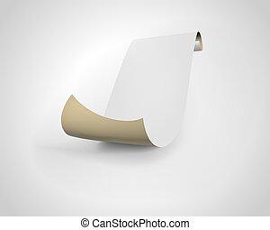 fondo., bianco, rotolo carta