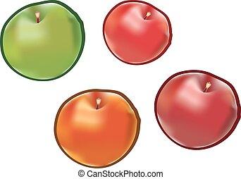 fondo., bianco, set, isolato, mele