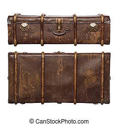 fondo, bianco, set, marrone, isolato, valigia, vendemmia