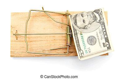 fondo., bianco, soldi., trappola topi