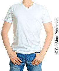 fondo., bianco, t-shirt., isolato, uomo
