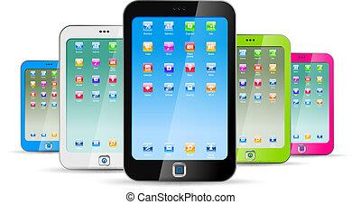 fondo, bianco, touchphones