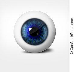 fondo., bianco, uomo, occhio, 3d
