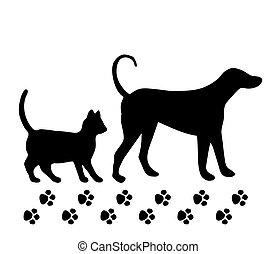 fondo., bianco, vettore, cane, gatto