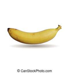 fondo., bianco, vettore, isolato, banana