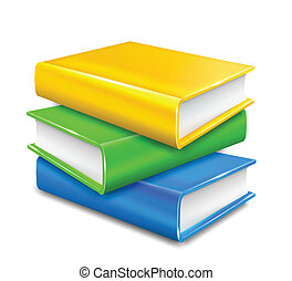 fondo., bianco, vettore, libri, pila