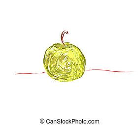fondo., bianco, vettore, mela